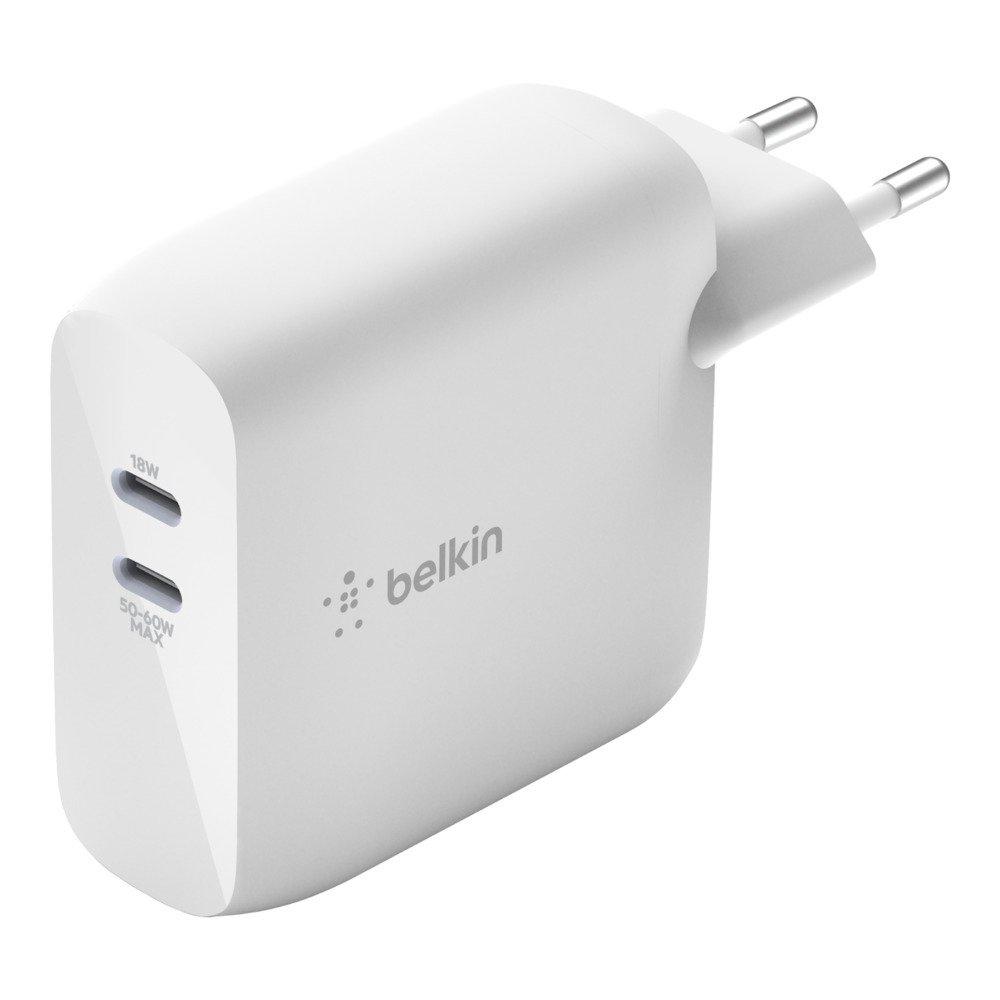 Мережеве ЗУ Belkin GAN (50+18W) Dual USB-С, white фото