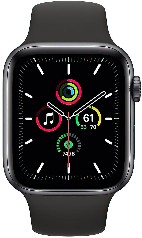 Смарт-часы Apple Watch SE GPS 44mm Space Gray Aluminium Case with Black Sport Band Regular фото