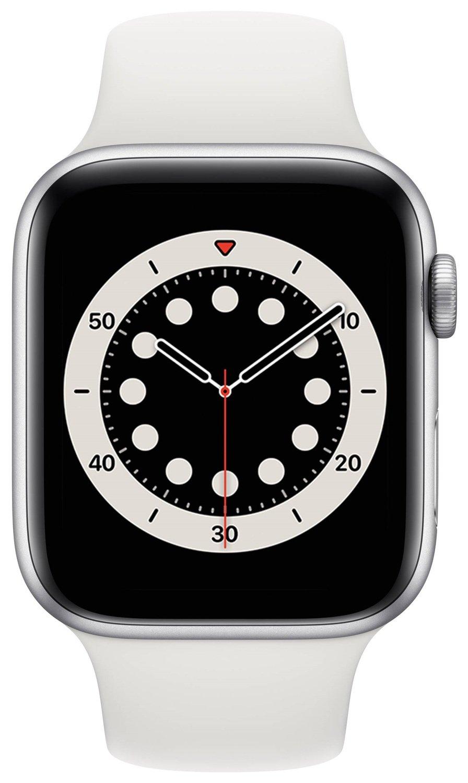 Смарт-часы Apple Watch Series 6 GPS 44mm Silver Aluminium Case with White Sport Band Regular фото
