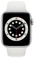 Смарт-часы Apple Watch Series 6 GPS 44mm Silver Aluminium Case with White Sport Band Regular