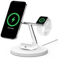 Беспроводное ЗУ Belkin MagSafe 3-in-1 Wireless Charger White (WIZ009VFWH)