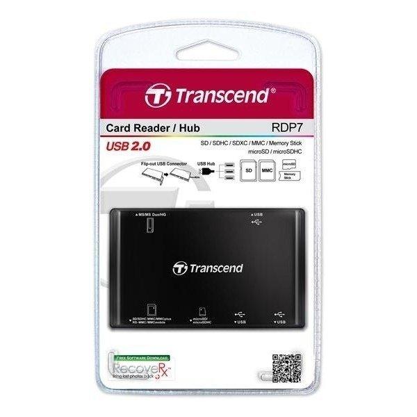 Кардридер Transcend USB 2.0 + USB HUB на 3 роз'єми, чорний (TS-RDP7K) фото1