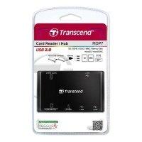 Кардридер Transcend USB 2.0 + USB HUB на 3 разъема,черный (TS-RDP7K)