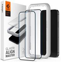 Захисне скло Spigen для iPhone 12 Pro Max Glas tR ALM FC Black (2Pack)