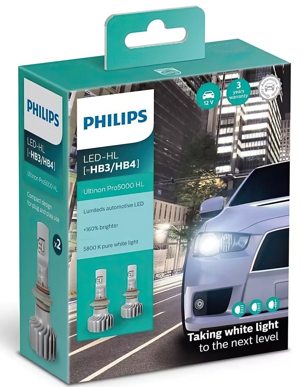 Лампа светодиодная Philips HB3 / HB4 Ultinon Pro5000 + 160%, 2 шт / комплект фото