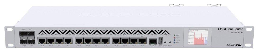 Маршрутизатор MikroTik Cloud Core Router 1036-12G-4S-EM 4xSFP, RouterOS L6, LCD panel, rack (CCR1036-12G-4S-EM)фото1