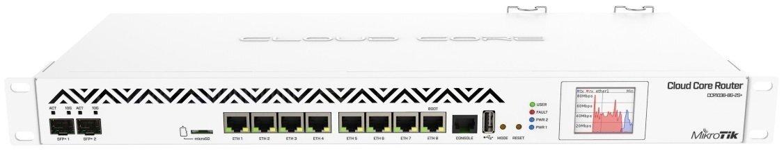 Маршрутизатор MikroTik Cloud Core Router 1036-8G-2S + EM 8xGE, 2xSFP +, RouterOS L6, LCD panel, rack (CCR1036-8G-2S + EM) (CCфото1