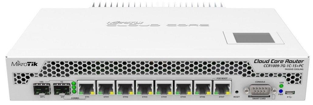 Маршрутизатор MikroTik Cloud Core Router CCR1009-7G-1C-1S + PC 7xGE, 1xGE/SFP, 1xSFP +, OS L6, pas, LCD (CCR1009-7G-1C-1S + P фото1