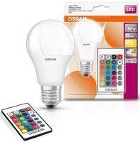 Лампа светодиодная OSRAM LED E27 9W 2700К+RGB 220V A60+пульт ДУ (4058075430754)