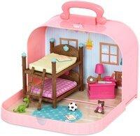 Игровой набор Li'l Woodzeez Кейс розовый (Двухъярусная кровать) с аксессуарами WZ6597Z