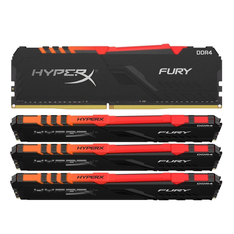 <p>Пам'ять до ПК Kingston DDR4 3600 64GB KIT (16GBx4) HyperX Fury Black</p>фото1