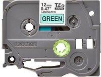 Термо-лента Brother 12mm ламинированная, черный на зеленом (TZE731)