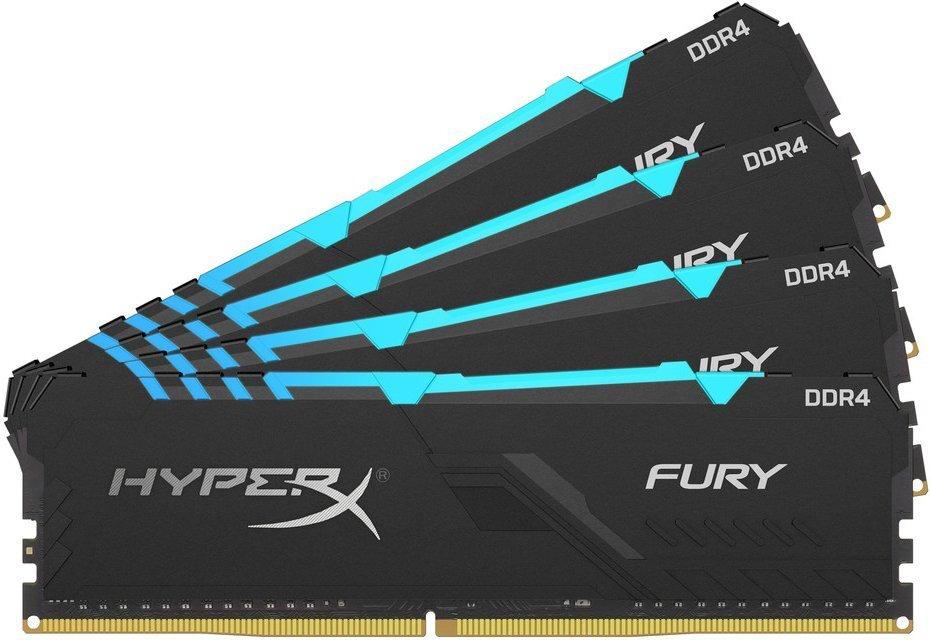 Пам'ять для ПК Kingston DDR4 3200 64GB KIT (16GBx4) HyperX Fury RGB (HX432C16FB4AK4/64)фото1
