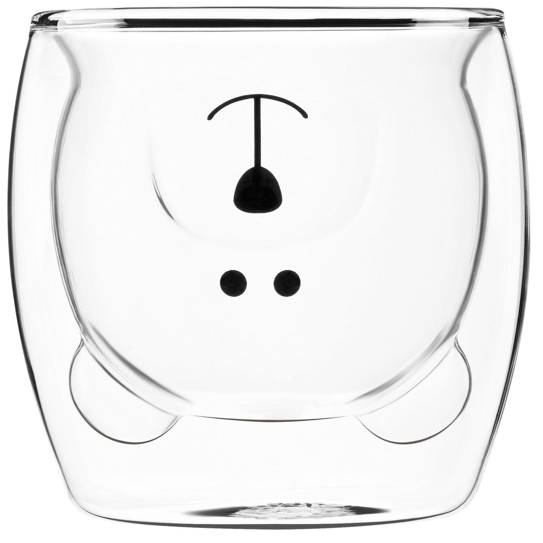 Набор чашек Ardesto Animals с двойными стенками, 250 мл, 2 шт, боросиликатное стекло фото
