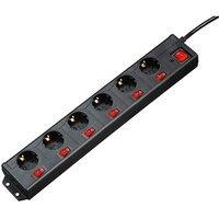 Сетевой удлинитель Hama 6хSchuko с отдельным включением каждой розетки 3G*1.5mm 1.4 m Black (00137259)