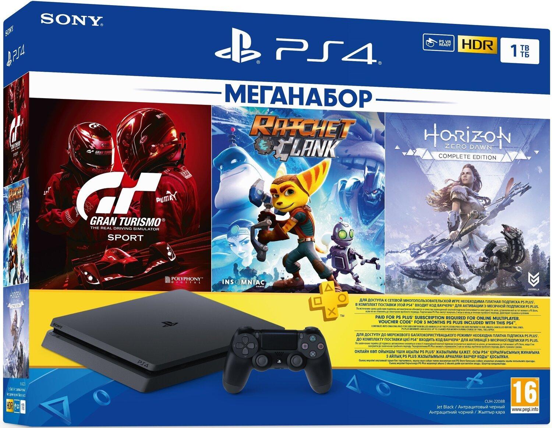 Игровая консоль PlayStation 4 Slim 1Tb (Gran Turismo + Ratchet&Clank + Horizon Zero Dawn + PSPlus 3М) (9702191) фото