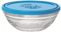 Контейнер Duralex Lys Carre круглый с синей крышкой 14 см, 500 мл (9065AM12)