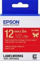 Картридж с лентой Epson LK4RKK принтеров LW-300/400/400VP/700 Satin Gld/Red 12mm/5m (C53S654033)