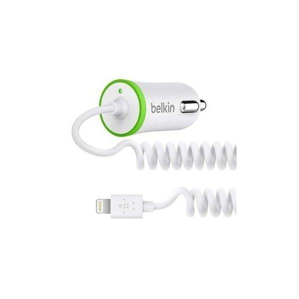 Зарядний пристрій Belkin USB MicroCharger (12V + LIGHTNING сable, USB 2.1Amp), Білий (F8J074btWHT)фото