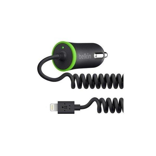 Зарядний пристрій Belkin USB MicroCharger (12V + LIGHTNING сable, USB 2.1Amp), Чорний (F8J074btBLK)фото