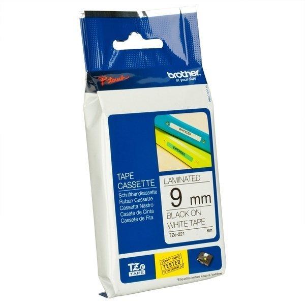 Купить Лента Brother 9mm ламинированная, черный на белом (TZE221)