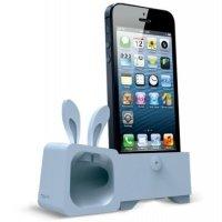 Подставка-усилитель Ozaki O!music ZooRabbit для iPhone 5/5S/SE Grey