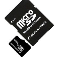 Карта памяти Silicon Power microSDHC 16GB Class 10 R20/W8MB/s + SD-адаптер