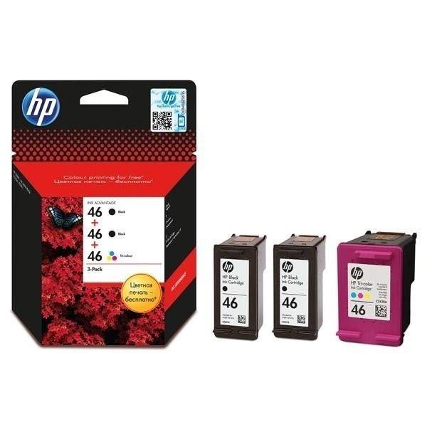 Купить Картридж струйный HP No. 46 Ultra Ink Advantage Pack 2 x Black+1 x Tri-Color (F6T40AE)