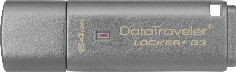Накопичувач USB 3.0 KINGSTON DT Locker+G3 64GB Metal Silver Security (DTLPG3/64GB) фото1